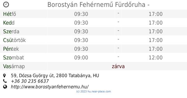🕗 Borostyán Fehérnemű Fürdőruha Tatabánya Nyitva tartás f6387aec55